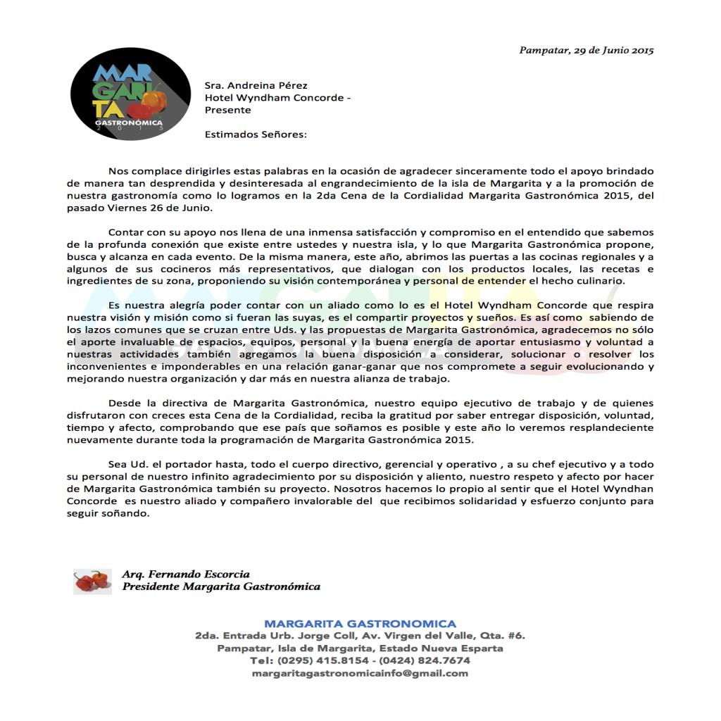 Carta de Agradecimiento para el Hotel Wyndham Concorde Resort de Margarita Gastronómica.